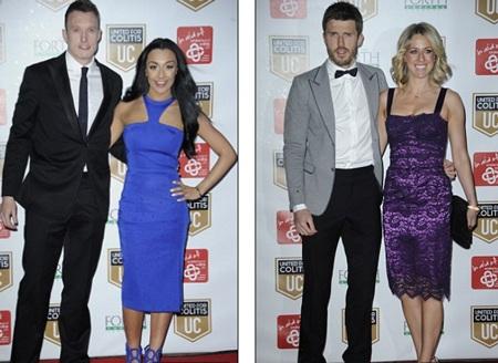 Phil Jones dẫn bạn trai Kaya Hall (trái) và Michael Carrick đi cùng vợ Lisa tới bữa tiệc.
