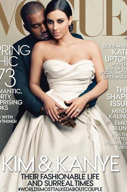 Kim và Kanye tình tứ trên bìa tạp chí Vogue, số tháng 4/2014.