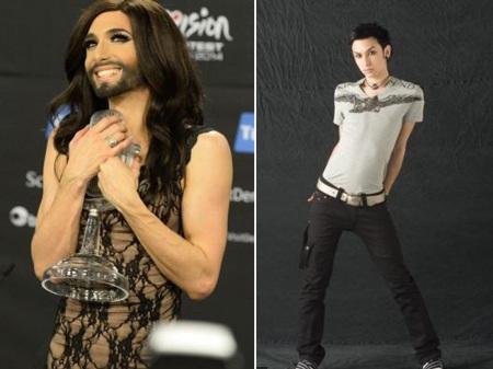 Conchita Wurst hiện tại (trái) và khi chưa là phụ nữ (phải)