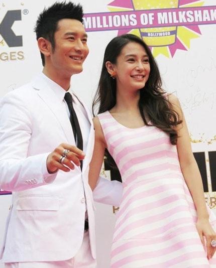 Huỳnh Hiểu Minh đẹp đôi bên bạn gái, nữ diễn viên Angela Baby tại Thượng Hải, chiều 28/5.