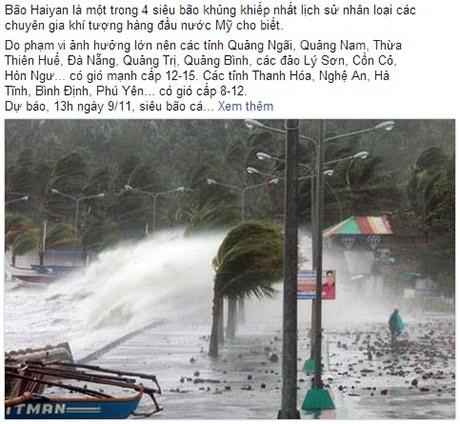 Tin tức về siêu bão liên tục được cập nhật trên Facebook