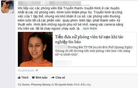 Thông tin về sự hi sinh của nữ phóng viên Hồng Sen được nhiều người chia sẻ trên mạng xã hội