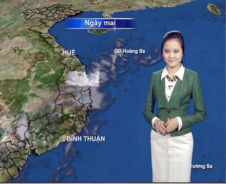 BTV Ngọc Bích dẫn chương trình dự báo thời tiết của VTV