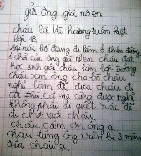 Bức thư xúc động của bé Kiệt