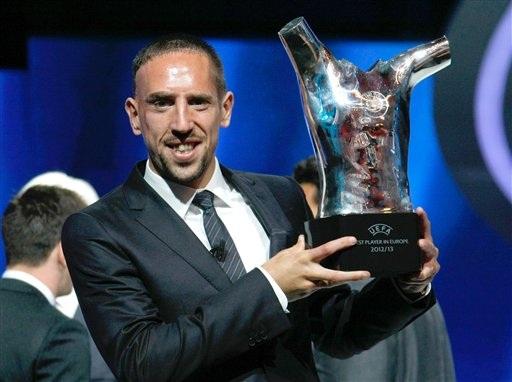 Ribery đã giành danh hiệu Cầu thủ xuất sắc nhất châu Âu mùa vừa qua