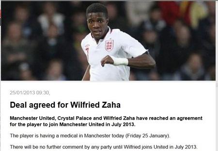 """Thông tin chi tiết về thương vụ Wilfried Zaha vừa được đăng tải trên trang chủ của """"Quỷ đỏ"""""""