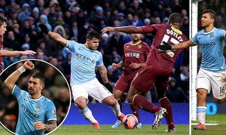 Cú hat-trick của Aguero đã giúp Man City ngược dòng trước Watford