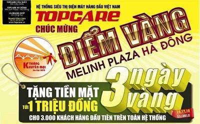 """Topcare """"góp sức"""" cùng điểm vàng Melinh plaza Hà Đông với giá trị quà tặng lớn."""