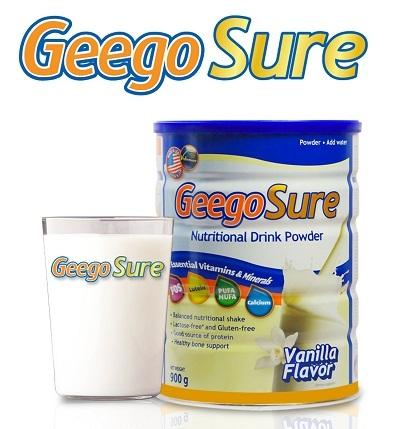 Geego Sure – Sữa bột cân bằng đầy đủ dinh dưỡng, bổ sung Lutein dành cho người cao tuổi.