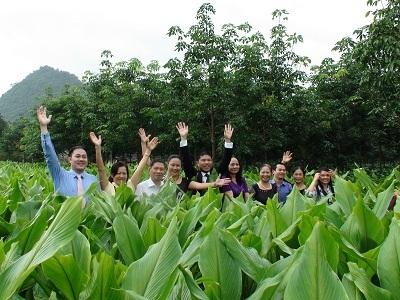 Chủ tịch Trần Đức Minh với Nhà khoa học và CBCNV tại cánh đồng dược liệu.