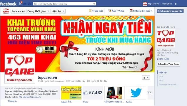 Fanpage Topcare nhận được sự quan tâm của hàng chục nghìn khách hàng.