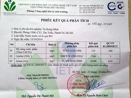 Kết quả xét nghiệm mẫu nước của anh Tạ Hồng Minh, CT5, KĐT Xa La.