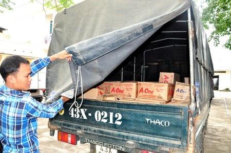 Số lượng bột ngọt và bột giặt được vận chuyển về trụ sở Công an quận Ngũ Hành Sơn