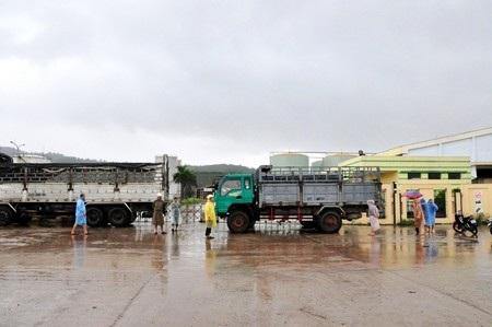Các chủ nợ dùng xe ô tô chắn ở cổng nhà máy cồn Đại Tân không cho các chủ nợ khác vào chở cồn đi