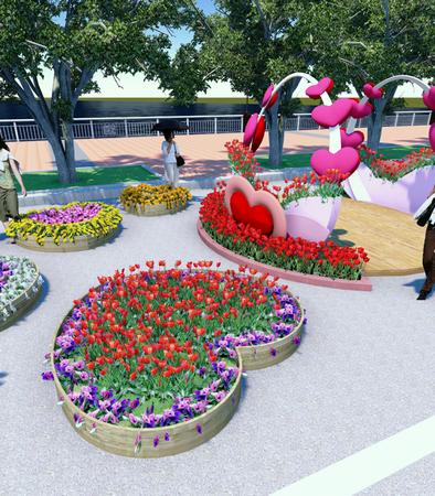Phối cảnh khung hoa trái tim dành cho ngày Lễ tình nhân nhân dịp xuân Quý Tỵ 2013