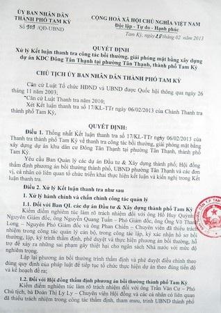 Quyết định xử lý Thanh tra của Chủ tịch UBND TP Tam Kỳ về sai phạm đất đai của cán bộ
