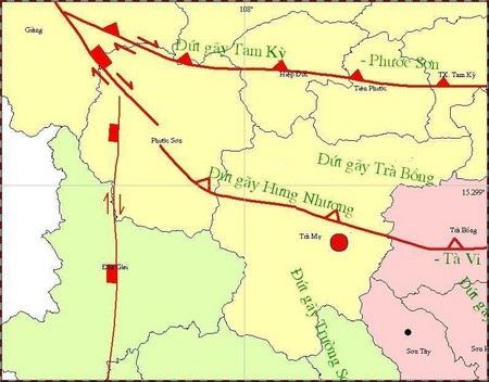 Bản đồ tâm chấn trận động đất chiều 4/3. Nguồn: Trung tâm báo tin động đất và cảnh báo sóng thần