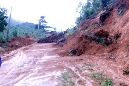 Một khu vực núi bị lở do mưa bão số 11 vừa qua tại huyện Tây Giang, Quảng
