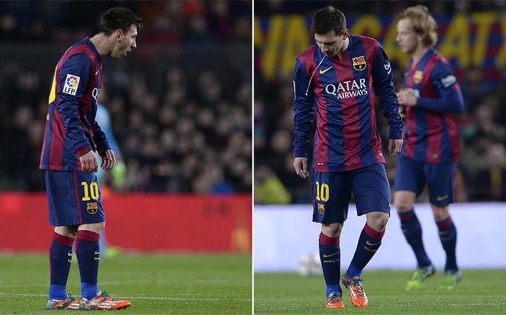 Messi lại bị bắt gặp nôn khan ở trận đấu với Atletico