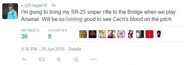 Những lời dọa giết Petr Cech xuất hiện trên Twitter
