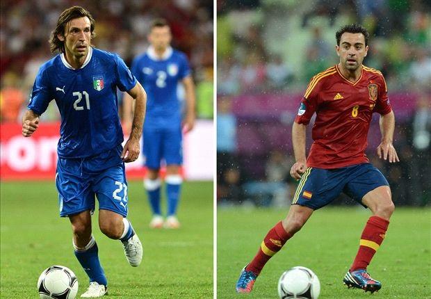 Xavi và Pirlo đứng trước trận đấu lớn cuối cùng trong sự nghiệp