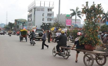 Đường phố tấp nập người đi mua sắm hoa xuân.