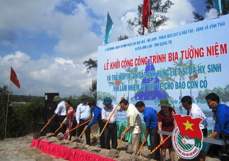 Xây dựng bia tưởng niệm tri ân các liệt sĩ từng tiếp tế đảo Cồn Cỏ
