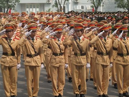 Học viên Học viện Cảnh sát nhân dân trong Lễ mít tinh