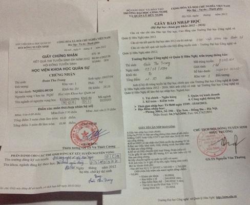 Một trong những giấy báo chứng nhận điểm thi giả lấy mác đã dự thi vào Học viện Khoa học Quân sự.