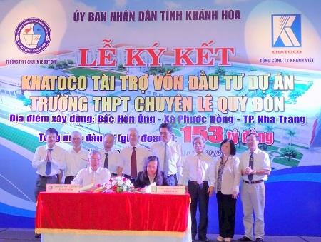 Lễ ký kết tài trợ vốn xây dựng mới Trường THPT Chuyên Lê Quý Đôn, TP Nha Trang, Khánh Hòa