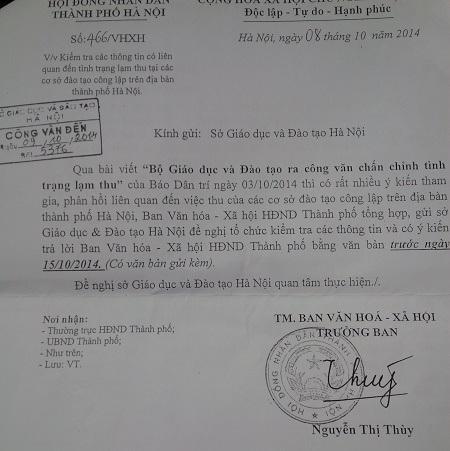 Công văn của Ban Văn hóa - Xã hội HĐND gửi Sở GD-ĐT Hà Nội.