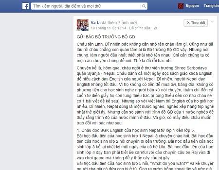 Bức thư của cựu sinh viên tên Linh gửi Bộ trưởng Bộ GD-ĐT trên trang Facebook cá nhân.
