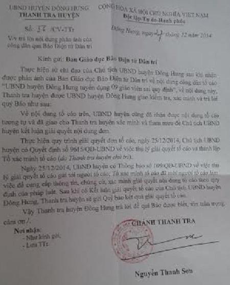 Công văn số 56 của Thanh tra huyện Đông Hưng gửi phản hồi báo Dân trí.