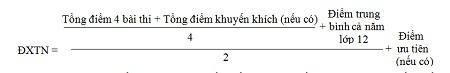 Điểm xét tốt nghiệp được lấy đến hai chữ số thập phân, do phần mềm máy vi tính tự động thực hiện.