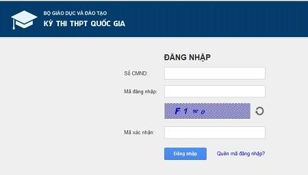Giao diện phần mềm quản lý thi online của Bộ GD-ĐT