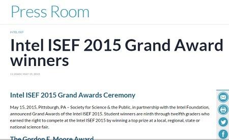 Kết quả intel ISEF đã được công bố chính thức trên website của Hội thi