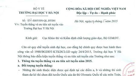 Công văn số 462 của ĐH Y Hà Nội gửi Cục Khảo thí và Kiểm định