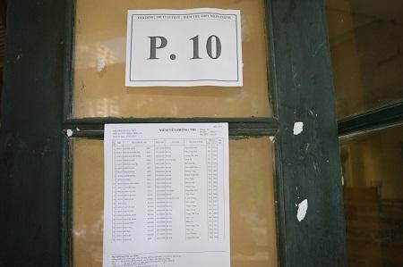 Tên phòng thi và danh sách thí sinh được dán cẩn thận