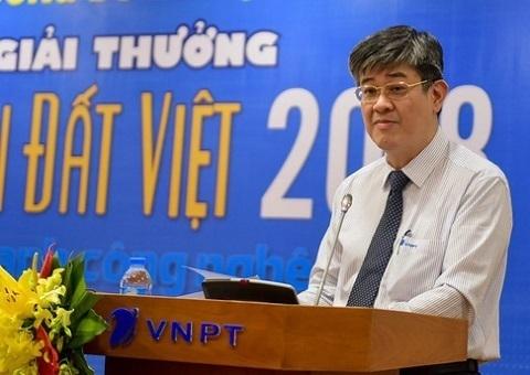 Ông Hồ Đức Thắng - Thành viên Hội đồng thành viên Tập đoàn VNPT - đại diện Lãnh đạo Tập đoàn Bưu chính Viễn thông Việt Nam VNPT phát biểu tại Lễ công bố kết quả sơ khảo Giải thưởng NTĐV lĩnh vực CNTT 2018.