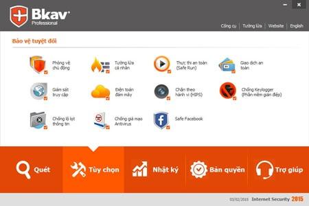 Loạt tính năng bảo vệ truy cập Facebook, chống mã độc tống tiền được tích hợp trên Bkav 2015.