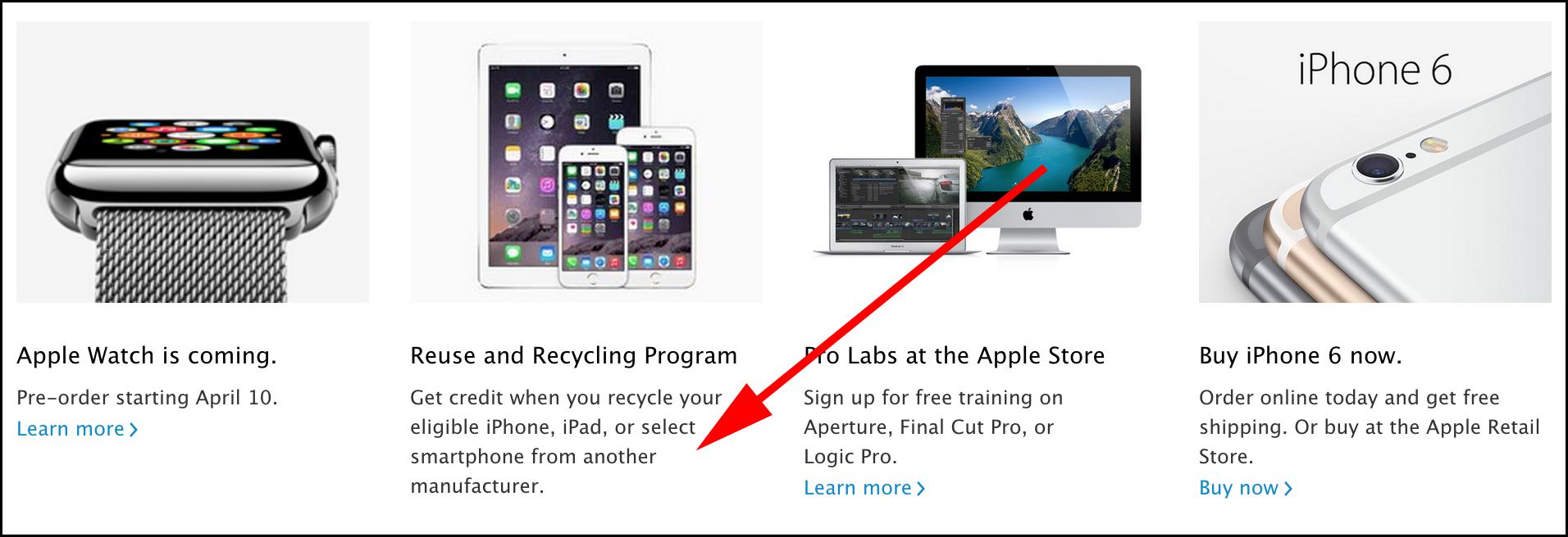 Thông tin về chương trình đổi điện thoại được cập nhật trên trang web Apple Store.