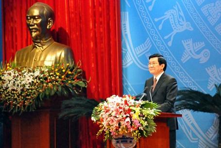 Chủ tịch nước Trương Tấn Sang đọc diễn văn tại Lễ kỷ niệm 40 năm ký Hiệp định Paris (ảnh VOV)