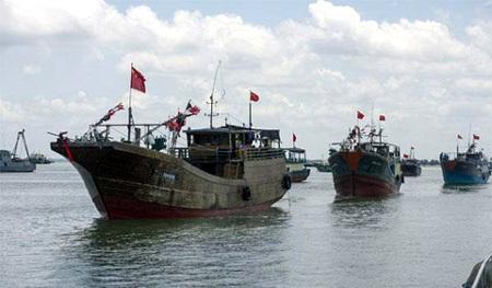 Đội tàu cá Trung Quốc đánh bắt cá trái phép ở Trường Sa của Việt Nam