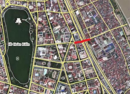Vạch đỏ trong ảnh là tuyến đường hầm Hà Nội dự kiến đầu tư xây dựng