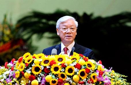 Tổng Bí thư Nguyễn Phú Trọng phát biểu tại Đại hội (Ảnh: Đại Đoàn Kết)