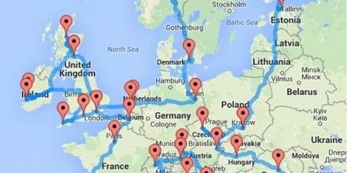 Hành trìnhxuyên châu Âu được Olso lập trình