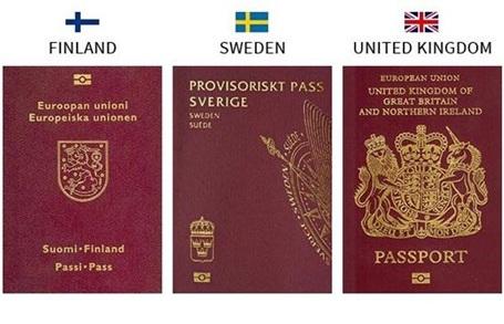 Hộ chiếu của 3 nước Phần Lan, Thụy Điển và Anh quốc