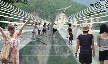 Hình ảnh mô phỏng cây cầu bằng kính độc đáo