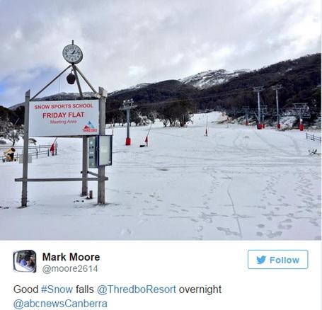 Một du khách chia sẻ hình ảnh tuyết phủ trắng khu Thredbo Resort.