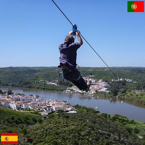 Đoạn dây cáp đơn giản, dài hơn 720m, nối giữa Tây Ban Nha và Bồ Đào Nha là đường biên giới.